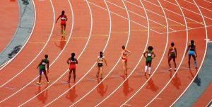 Athletes on race track